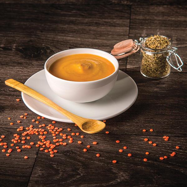 Crème de carottes, lentilles corail au cumin